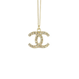 【  中】CHANEL 香奈兒 雙C LOGO方型鑲鑽串C項鍊.金 價 12 800