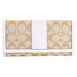COACH 51772 淺卡C Logo米白飾邊內拉鍊袋雙摺長夾