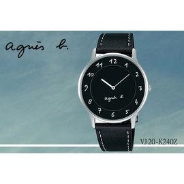 ~時間道~〔agnes b~錶〕法式簡約 風情腕錶 黑面黑皮^(大^) ^(VJ20~K2