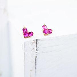 【粉紅堂 飾品】天使之愛 愛心水鑽耳環