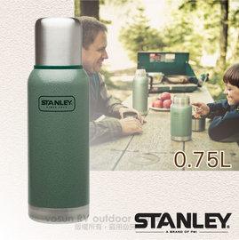 【美國 STANLEY】Adventure冒險系列 雙層不鏽鋼隔熱真空保溫瓶0.75L.保溫水壺.暖水瓶.保溫杯 / 304不鏽鋼.BPA-free / 10-01562 錘紋綠