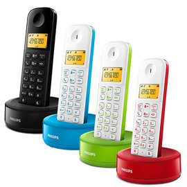 PHILIPS 飛利浦 數位無線電話 D1201 (D1201B黑色/D1201WA藍色/D1201WR紅色/D1201WN綠色