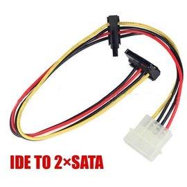 主機板 一分二 大4Pin(公)轉2 SATA(母) IDE電源線/排線(90度彎頭) [DSS-00009]