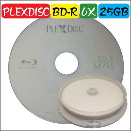 PLEXDISC LOGO BD~R 6X  25GB 藍光燒錄片 空白光碟片 10片