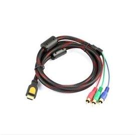 (帶磁環) HDMI(公)轉RCA(公)藍綠紅 AV色差線/訊號線/轉接線/傳輸線  (1.5米)  [DHM-00012]