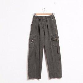 鬆緊帶側袋休閒褲~深綠