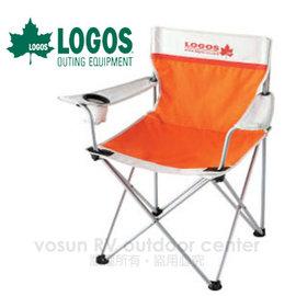 日本 LOGOS NEOS 雙色休閒椅《附杯架》.休閒椅.導演椅.郊外椅/ 橘 # 73022103