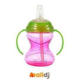 MallDJ親子 網 ~ Nuby 卡拉雙耳彈性吸管杯~顏色 出貨~ ^#PB514080