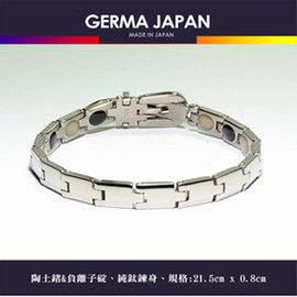~GERMA JAPAN~鐳冠軍 陶土鍺複方礦石碇100^%錶帶純鈦手鍊 GR016