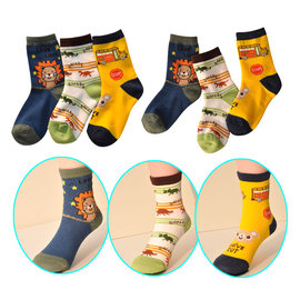 ^~韓風童品^~  ^(3雙 組^)男童動物 純棉防滑襪 獅子 恐龍 小熊 卡通寶寶襪 嬰