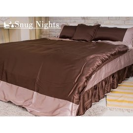 ^~Snug Nights^~絲質緞面~6x6.2雙人加大五件式絲緞鋪棉兩用被套床罩組^#