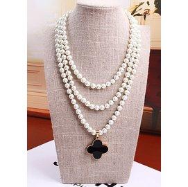 奢華珍珠長鏈四葉草項鏈毛衣鏈