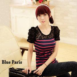 短袖上衣~ 條紋拼接蕾絲公主袖上衣~11A01~ ~4色~藍色巴黎