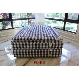 WENICE 維納斯 喜來登 款 藍白格紋 純天然 雙人加大床墊^(6x7尺^) 獨立筒