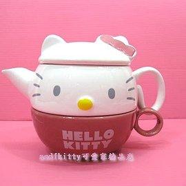 廚房~asdfkitty~ KITTY大臉陶瓷茶壺杯子組 濾網~