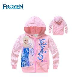 冰雪奇緣FROZEN艾莎公主回眸款手袖有花款淡粉色連帽薄外套^(95、100CM ^) 上