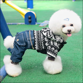 保羅叔叔寵物 館 ~嘟貝貝~~ 連帽針織牛仔裝~黑色~ 尺寸 小型犬 中型犬用