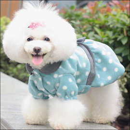 保羅叔叔寵物 館 ~嘟貝貝~~ 復古風圓點連衣裙~藍色~ 尺寸 小型犬 中型犬用