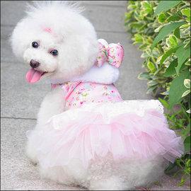 保羅叔叔寵物 館 ~嘟貝貝~~ 蝴蝶結連帽刺繡紗裙~粉紅色~ 尺寸 小型犬 中型犬用