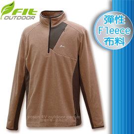 ~FIT~男 雙刷雙搖保暖上衣.輕量立領半開襟休閒衫.休閒上衣.長袖保暖衣 彈性Fleec