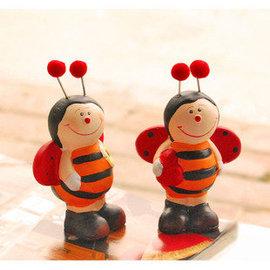 裝飾品擺件陶瓷工藝品桌面擺設可愛小蜜蜂娃娃 3入