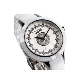 JO96845~80F NATURALLY JOJO 白陶瓷錶 晶鑽雪花錶盤 白面 藍寶石