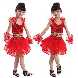 5Cgo~ 七天交貨~18563837368 小孩拉丁舞服裝女童練功服演出服 兒童舞蹈服裝
