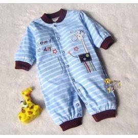 美單藍白條長頸鹿柔軟棉質長袖連身衣^(9m^)