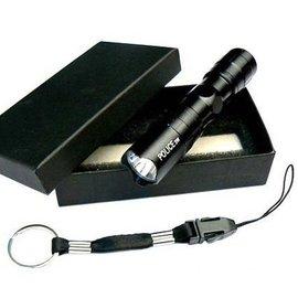 新竹市-卓也合 (兩節式) 強光LED手電筒 (鋁合金-帶鑰匙扣) 黑