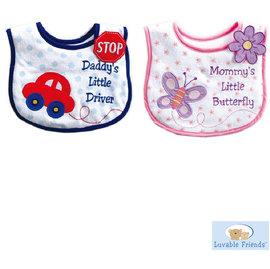 ^~Mamae^~ 美國 Luvable Friends 動物 刺繡毛巾布圍兜 寶寶口水巾