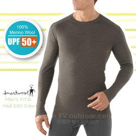 【美國 SmartWool 】男款 Men's NTS Mid 250 Crew 美麗諾羊毛 保暖圓領上衣(UPF 50+)/長袖衛生衣.內衣/登山健行_ SS600 灰褐色