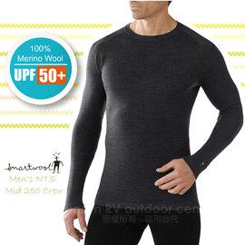 【美國 SmartWool 】男款 Men's NTS Mid 250 Crew 美麗諾羊毛 保暖圓領上衣(UPF 50+)/長袖衛生衣.內衣/登山健行_ SS600 炭灰色