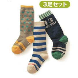 ^~韓風童品^~ 款^(3雙 組^)男童星星 條紋 圖案防滑中筒襪 兒童純棉襪 防滑襪 襪