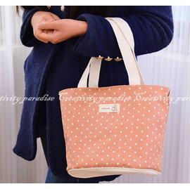 ~棉麻手提袋~韓系 點點收納袋手提包便當袋整理袋