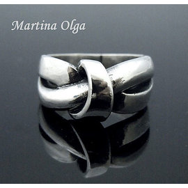 ~奧嘉 ~銀飾 925純銀 優雅大器風格 緞帶結型流線戒指 極簡 北歐丹麥喬治傑生