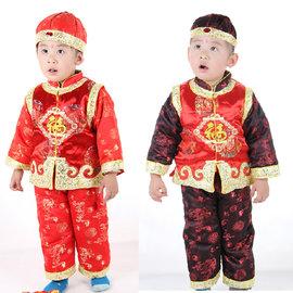 5Cgo~ 七天交貨~740784075 兒童唐裝男童夾綿加絨旗袍兒童禮服中國風唐裝福祿雙