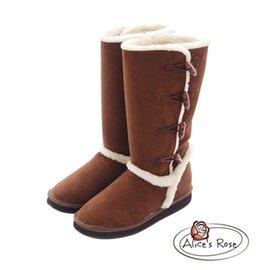 Alice's Rose 牛角扣保暖長筒雪靴~咖啡色