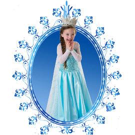 聖誕 冰雪奇緣Frozen艾莎長披風裙子珠片薄網紗長袖連衣裙女童冰雪奇緣公主連身裙禮服