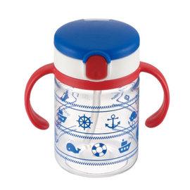 【紫貝殼】『DCB01-3』日本《Richell-利其爾》(新)LC兒童戶外吸管水杯-第二代喝水杯吸管學習杯200ml海軍藍