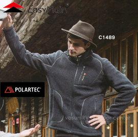 【EasyMain 衣力美】男新款 POLARTEC Classic 200 輕量保暖撥水外套.高透氣防寒夾克/質輕.透氣.保暖.快乾/C1489 灰