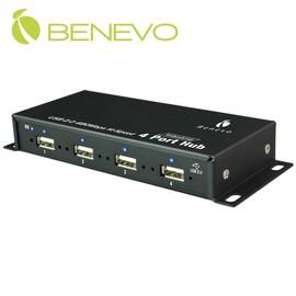 BENEVO工業級 4埠USB2.0集線器 附2A變壓器   BUH234