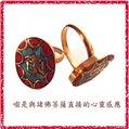 ^~唐古拉佛教文物^~尼泊爾 銅鑲綠松石戒子 戒面吉祥^~嗡^~字^(橢圓形^)