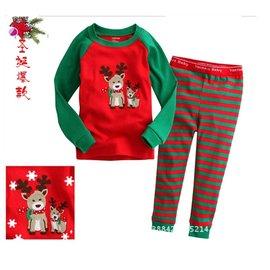 ~~美單G牌~~紅色底綠色袖子可愛迷鹿母子貼布長袖上衣 綠紅相間條紋長褲居家服 休閒服睡衣