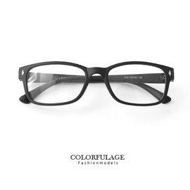 膠框 細版黑色膠框鉚釘平光眼鏡 百搭中性輕巧 框 文青風的  柒彩年代~NY276~贈眼鏡