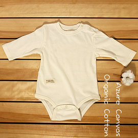 【紫貝殼】『PA09』⊙藍天畫布⊙100%有機棉 (大地系列)嬰幼兒薄布長袖連身衣70~90cm,無漂無染,台灣織造