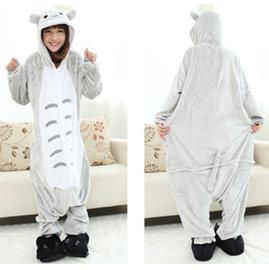 2014 法蘭絨連帽長袖睡衣卡通連體動物分體睡衣男女情侶家居服套裝 灰色龍貓居家套裝