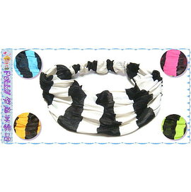 ~POLLY媽~ 黑&白、水藍、桃紅、蘋果綠、橘色條紋縐褶萊卡紗頭巾式髮帶^~寬25cm