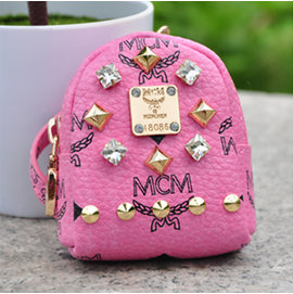 包包掛件mcm零錢包 超萌MCM鑰匙包 PU皮包包配飾 超可愛女孩小鑰匙扣小背包 潮女MC