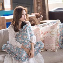 抱枕 ^~小春日和^~ 100^%精梳純棉  南亞A級纖維棉枕芯  碎花、翔仔居家 製