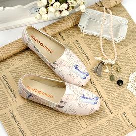 ~mwamwaz法式塗鴉風帆布鞋~甜密粉~ 帆布 真皮內裡 樂福鞋 懶人鞋 莫卡辛鞋 To